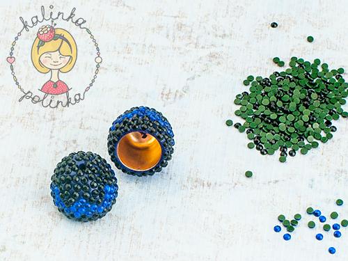 красивые концевики из полимерной глины со стразами серьги-кисти
