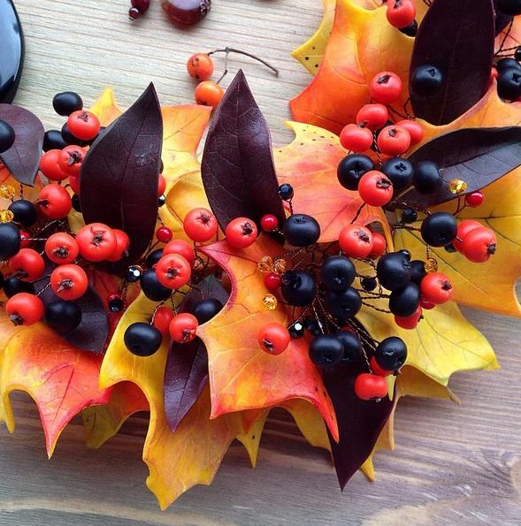 кленовые листья из полимерной глины