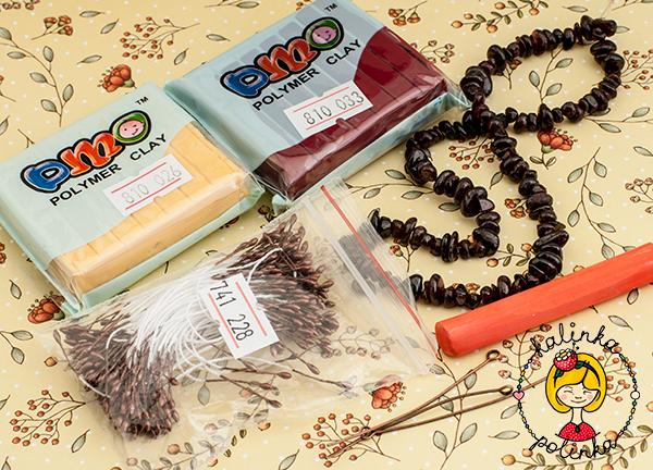 Материалы и инструменты для лепки -тычинки, полимерная глина, штифты, каменная крошка гранат