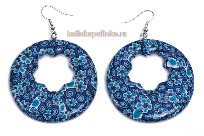 серьги из полимерной глины голубого цвета
