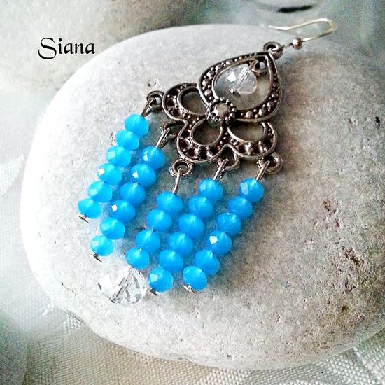 бусины полупрозрачные цвет голубой, мелкая грань