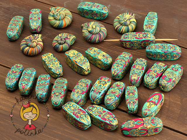 бусины из полимерной глины.
