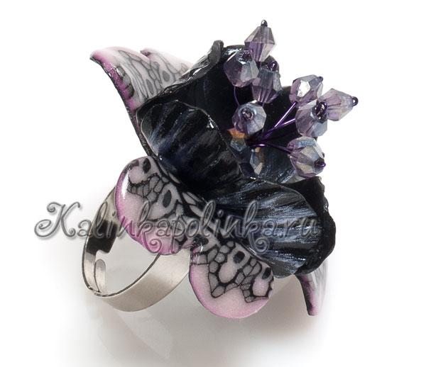 кольцо из полимерной глины с цветком