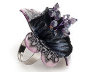 Цветы из полимерной глины. Кольцо с кружевным цветком