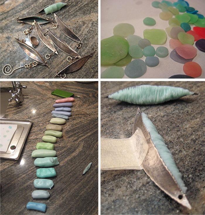 имитация морских стеклышек, обточенных морем