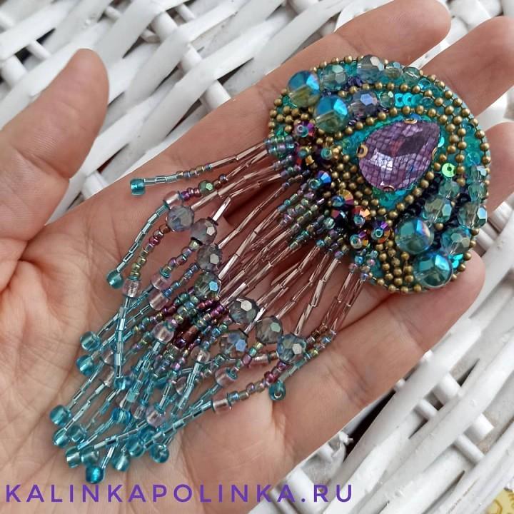 Брошь медуза из бисера своими руками