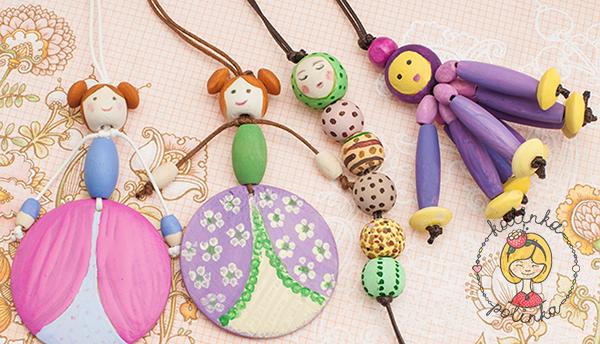 Новогодние игрушки из деревянных бусин