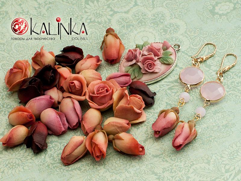Серьги с бутонами роз из полимерной глины от Kalinkapolinka