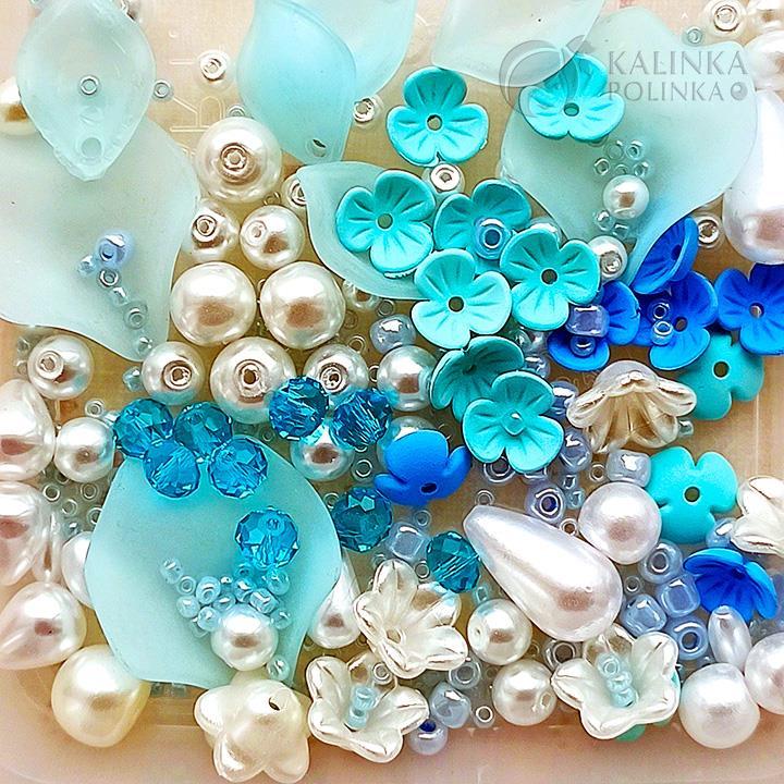 Цветовая подборка для броши в голубых тонах.